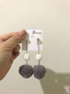Double Fur ball earrings