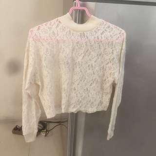 Lace Top brokat putih Zara