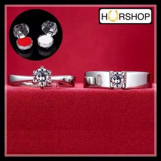 FREE 2 BOX cincin couple silver zircon pasangan anti alergi perhiasan