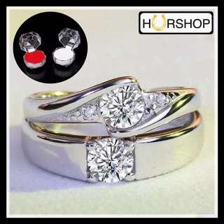 FREE 2 BOX Cincin couple Silver zircon perhiasan anti alergi