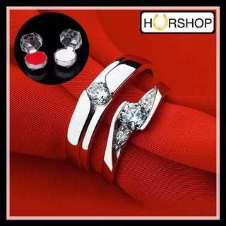 FREE 2 BOX Cincin Couple Pasangan silver zircon anti alergi import