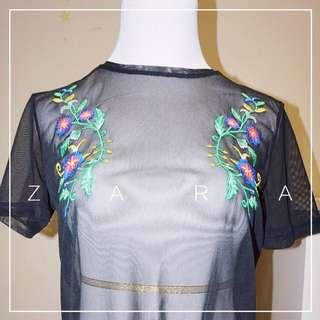 *NWT* Zara mesh top in black with embroidery Women Size S