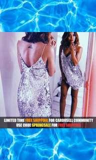 Deep V Silver Sequined Backless Dress