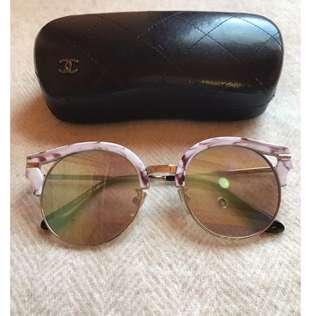 CHANEL CC DESIGNER WHITE MARBLE GREY ROUND FLAT CAT EYE SUNGLASSES GUCCI LV