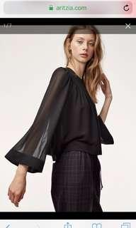 NWT Aritzia Verity Blouse in Black Size Small