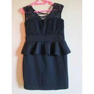 Preloved Size S Dress Wanita Peplum Hitam