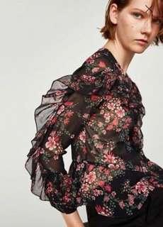 Zara Floral Frill Blouse