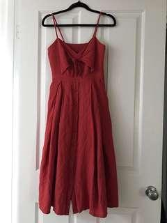 Front bow midi dress