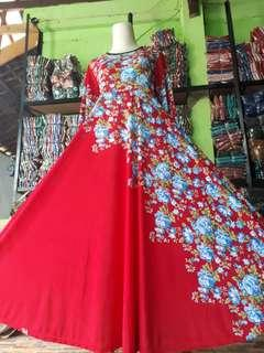 Gamis jersy payung motif