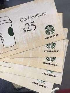 Starbucks coupon 25 x 5 total: 125