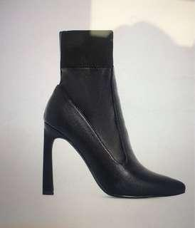 Brand New Faux Leather Stiletto Sock Bootie