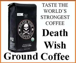 🚚 [BNIB] Death Wish Coffee Singapore [16OZ Ground Coffee] World's Strongest Coffee now in Singapore. Dark Roasted USDA Organic and Fair Trade Beans. Ultra-caffeinated Super Delicious. More Energy + Intense Flavor.