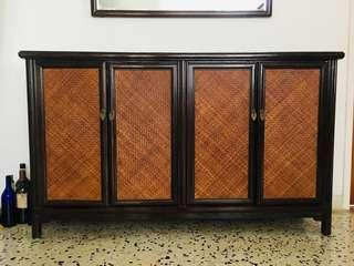 Sideboard rattan chest with four doors