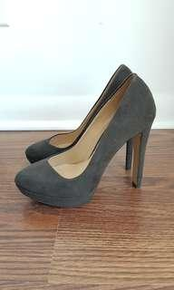 Brown/dark green sude heels from Zara, size 6