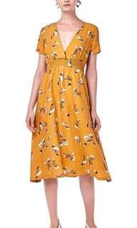 🚚 TEM Corina V-Neck Midi Dress Ochre Floral