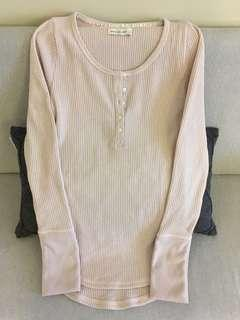 S Abercrombie pink Henley top