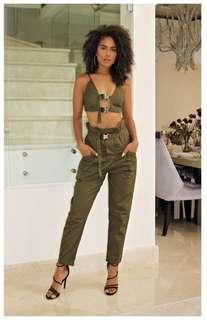 Khaki buckle crop top pants set