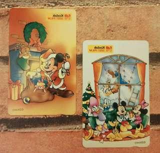 歲月收藏品:舊日柯達❌迪士尼電話咭 2張