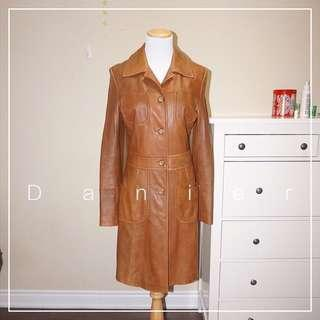 *Great Condition* Vintage Danier Leather Trench Coat in Tan Women Size XS