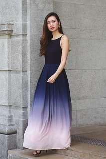Lace and Ebony Ombre Maxi Dress