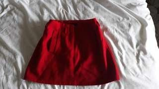 Red felt mini skirt