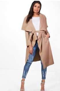 Camel long coat Boohoo