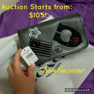 AUCTION 'Like and Bid' TIME! Coach Penny Crossbody with Varsity Patch LIMITED EDITION- Retail Price: SGD810 (100% Authentic)