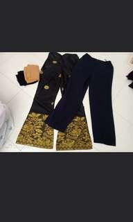 songket pants & office pants women free shawl