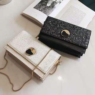 <P.O> Bling Bling Ladies Clutch Sling Wallet Bag