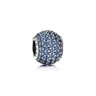 "Pandora ""Blue Pavé Light"" Charm"