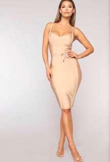 Fashion Nova Nude Bandage Dress