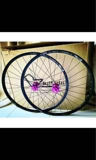 BZcycle Professional Custom hand Built Chosen 4591/4597 (Purple) Loud sound/Smooth Wheel set with Sun Ringle Helix TR25SL Rims (29er) # Tubeless Ready #