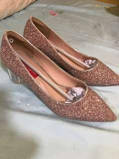 Brand new 3cm broad Glittery Champagne Pink heels