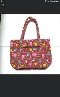 Pink Animal Zipper Tote Bag