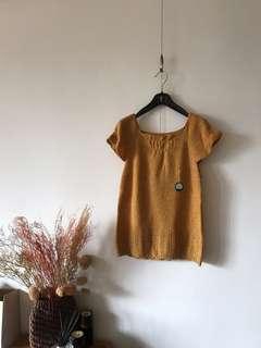 Vintage可愛短袖輕質感毛衣