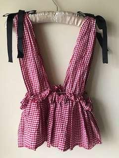 Shop Copper Red Gingham Ruffle Top with Black Grosgrain Ribbon S Zara Top