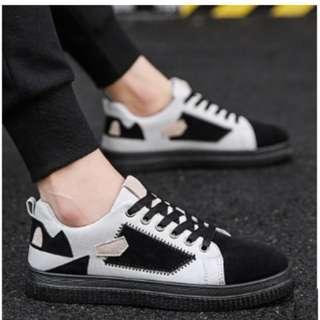 Men's Korean Youth Old School Style Canvas Shoes [Black/Gray/Khaki]