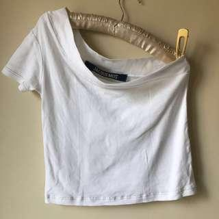 Jacquemus Asymmetrical White Cotton Jersey Shirt 36 Net-A-Porter Made in France RTW 2017
