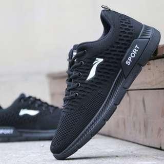 Men New Breathable Lightweight Sot Bottom Running Shoes [Black/Blue/White]