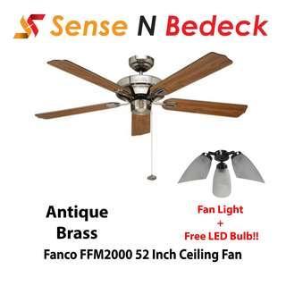 Fanco FFM2000 52 Inch Ceiling with Fan Lights (3 Bulbs)