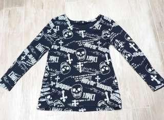 Skull Black Long Sleeves Top