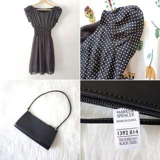 FREE POS Marks & Spencer Little Black Bag in Faux Leather + Vintage Polka Dot Dress with Puff Sleeves