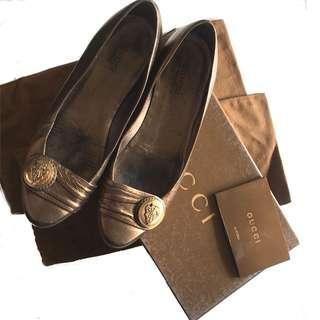 Gucci Bronze Ballet Flats