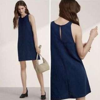 Aritzia Wilfred Trompette Denim Linen Dress Small
