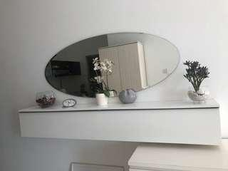 Mirror and hanging cabinet