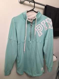Pink Light Blue Half Zip Up Sweater