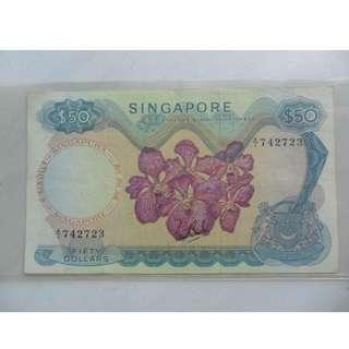 A/1 Singapore Orchid Series $50 Banknote A/1 742723 Sign LKS