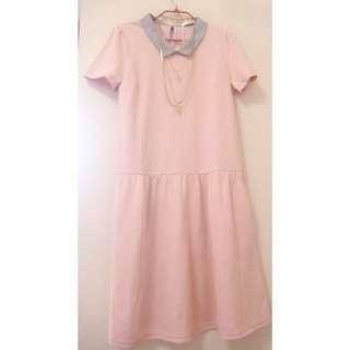 🚚 原價3280 超值價( 粉紅控 顯瘦 可2穿)PS COMPANY全新甜美粉色學院風洋裝/長版上衣 cantwo