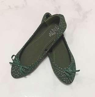 Green Floral Ballerina Flats Shoes