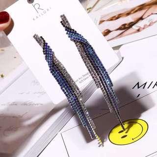 <free pos 3 pairs & above> Korean Design Blue Crystal Long Earrings